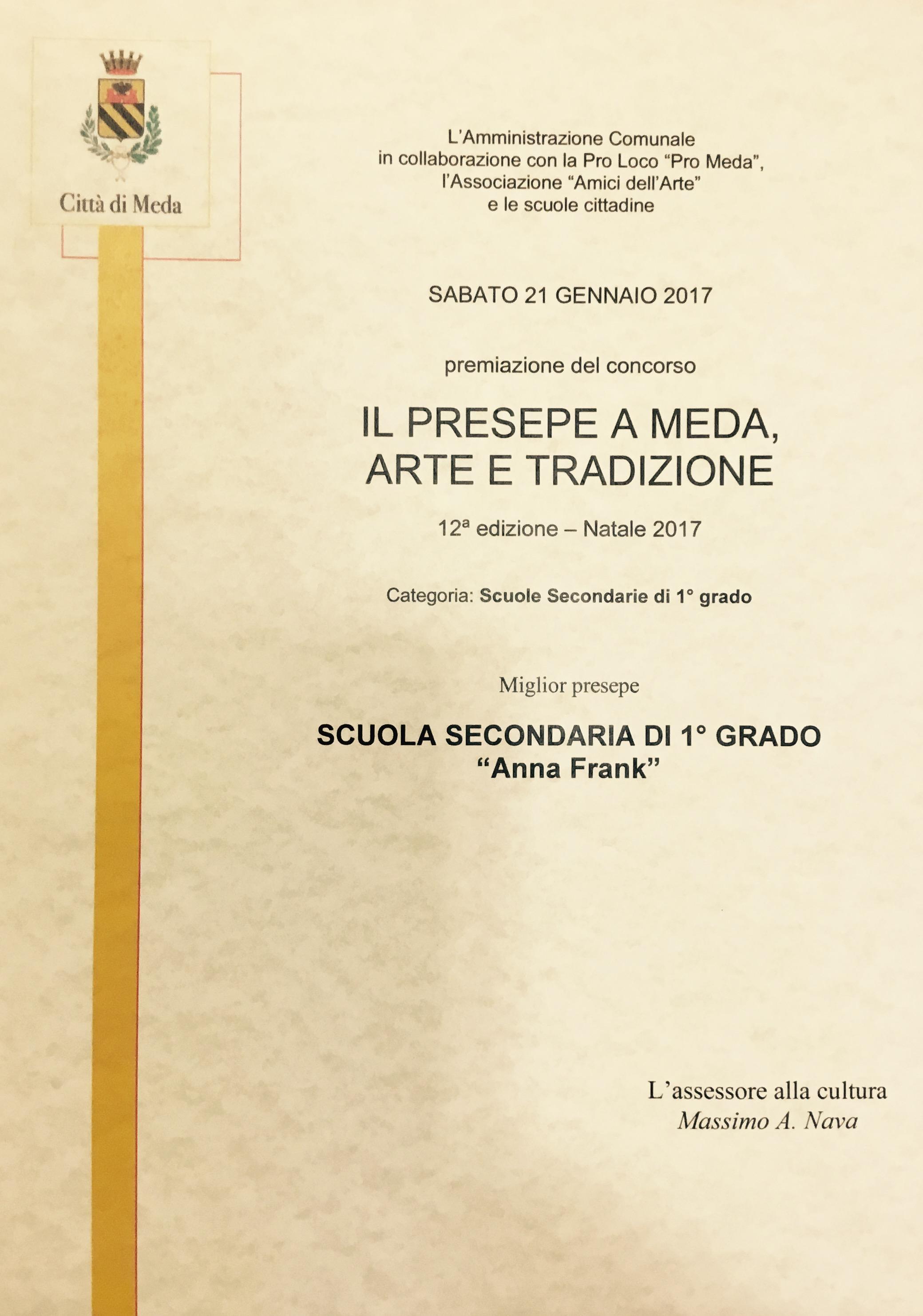 Attestato premiazione Presepe 2016